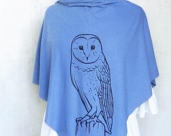 Lightweight Poncho for Women, Owl Printed Poncho, Organic Cotton Clothing, Hemp Clothing, Light Blue Poncho Shawl, Summer Poncho