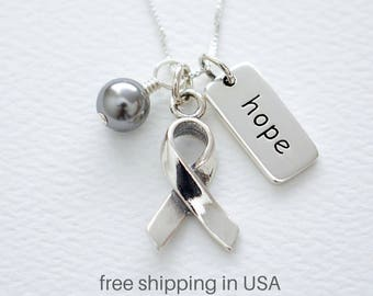 Diabetes, Brain Tumor, Glioblastoma, Asthma, Parkinson's Awareness Sterling Silver Necklace, FREE SHIPPING, Gray Pearl, Ribbon, Word Charm
