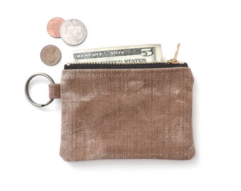 Keychain Coin Purse Slim Wallet Zipper Pouch Recycled Distressed Canvas