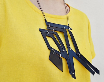 Genuine Leather Necklace , Geometrical Leather Necklace TLJ82 Black Leather Necklace by Teyxo