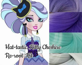 Ever After Hat-Tastic Kitty Cheshire Cat Doll Re-root Pack Nylon Hair Blonde Teal Gray Purple Kit to make your own OOAK Doll INTL SHIP
