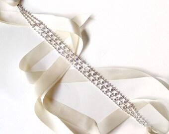 Ultra Sparkly Rhinestone Bridal Belt Sash or Headband - Custom Ribbon White Ivory Silver - Crystal Wedding Dress Belt - Standard Length