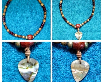 abalone guitar pick shape beaded necklace #1