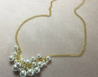 Chunky Pearl necklace, Cream pearl necklace, loaded pearl necklace, pearl bib necklace, statement necklace, collar necklace