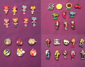 Shoe Charms for Crocs, Jibbitz - Lalaloopsy, Plants vs. Zombies, Monster High, Sonic Hedgehog, Shopkins, Smiley Faces