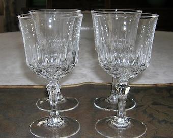 4 Vintage CRIS D'ARQUES / DURAND Crystal Wine Glasses St. Germain Pattern