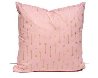Pink Gold Arrow Metallic Pillow Cover
