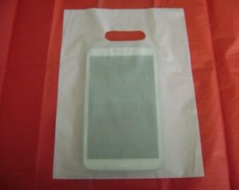 50 pack 9X12 White Merchandise Bags Glossy Handles Low Density Handle Gift Bags