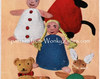 Vintage toy Knitting Knit Knitted pattern bean bag teddy cat rabbit doll clown Patterns PDF 561 from WonkyZebra