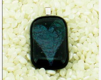 Fused Glass Pendant..Encased Heart.. Black with Blue Copper .. Silver Plated Loop Fitting