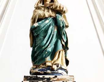 Antique Virgin Mary Statue, A Magnificent and Extremely Rare French Virgin Mary, Unique Timeworn Splendour, Mid 19th Century