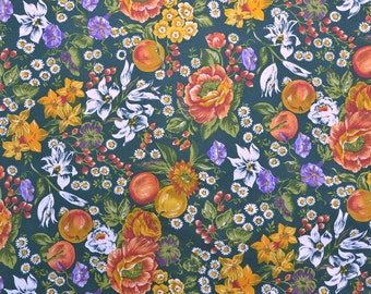 Cotton Floral Fabric, Orange Green, Cotton Quilting Fabric Yardage - 1 7/8 Yard - CFL1403
