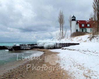 Winter At Point Betsie Lighthouse on Lake Michigan in Frankfort Michigan
