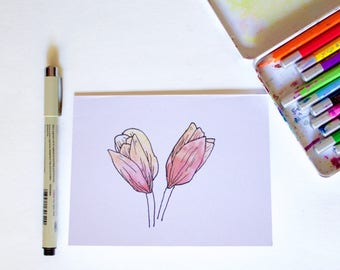 Watercolor Greeting Card Collection| Tulip flower card |Blank on inside