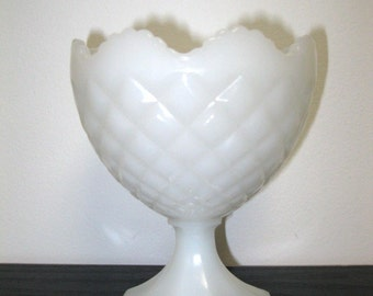 Vintage White Napco Milk Glass Quilted Diamond Pattern Compote Vase