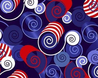 Red, White, and Starry from Studio E - Full or Half Yard Red White and Blue Swirls - Patriotic - 4th of July - Independence Day