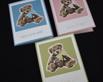 Teddy Bear baby card your choice of color
