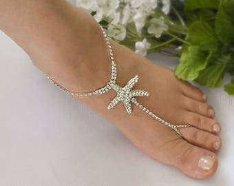 Starfish Barefoot Sandals, Rhinestone Foot Jewelry,Silver Foot Jewelry, Beach Wedding Footless Sandals-SD034