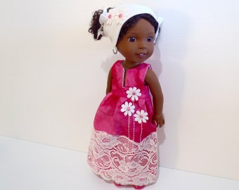 """HANDMADE Dress and Headband made to fit dolls like 14.5"""" American Girl Wellie Wishers Dolls - Handmade Doll Clothes"""