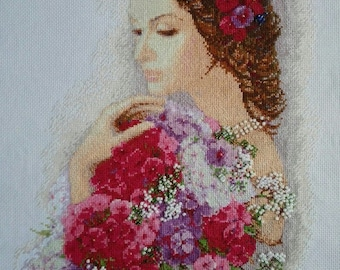 Girl with flowers.Completed Cross Stitch. Handmade embroidery. Wall Decor