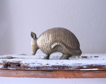 Vintage Large Brass Armadillo // Solid Brass