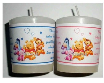28 Winnie the Pooh Baby Shower Favors Votive Candle Labels ~ FREE SHIPPING