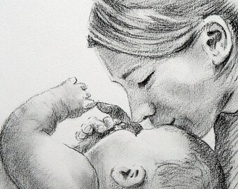 Original Pencil Drwaing / Charcoal Pencil | Love / Portrait / Mother s day gift
