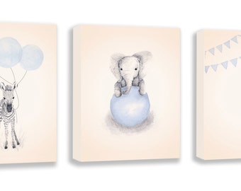 Baby Girl Gift, Kids Walll Art, Kids Animal art, Elephant, Zebra, Giraffe, Limited Edition Set Of Three Gallery Wrapped Canvas - SO63BC