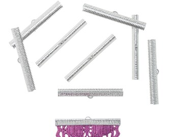 50 pieces  50mm  (2 inch) Platinum Silver Ribbon Clamp End Crimps - Artisan Series