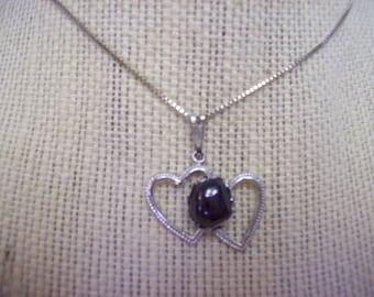 Garnet Double Heart Pendant Necklace