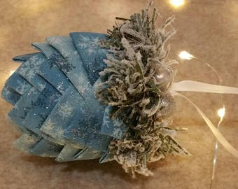 Handmade Pinecone Ornament Decoration Cotton Fabric Hand Tucked Pintucked with Decorated Frosted Pine Sprigs Sparkle Beads Satin Ribbon