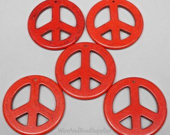 5 Red Magnesite Peace Sign Focal Beads Front Drilled Large 45mm Pendant Beads