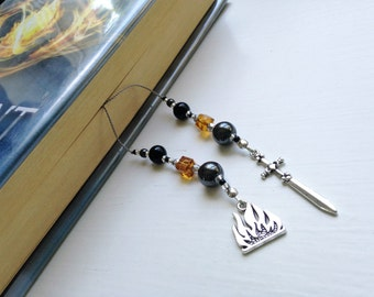 Divergent DAUNTLESS Faction Gift Bookmark Beaded Book Thong Rear View Mirror Car Accessory Urban Fantasy Flame Sword Charms Gift Reading