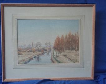 Original Large Watercolour River Stort Spellbrook…….