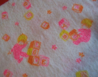 sweet juvenile flannel fabric pieces