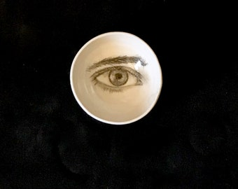 Porcelain Bowl, Unique Pottery, Drawing of an Eye on a Handmade Bowl, White and Black Pottery,