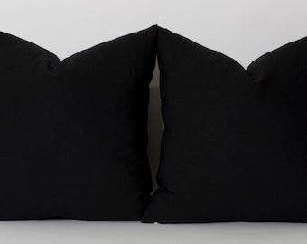 Solid Black Pillow Cover ANY SIZE Black Couch Pillow Covers Linen Throw Pillow Cover Black Toss Pillow Decorative Pillow Solid Black Pillow