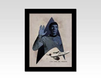 "Star Trek The Original Series Mr Spock ""Live Long and Prosper"" vintage style print"