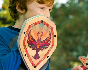 Wooden Shield - Pretend Play Toy for Kids - Handmade with Real Wood - Full Color Raven Bird Design