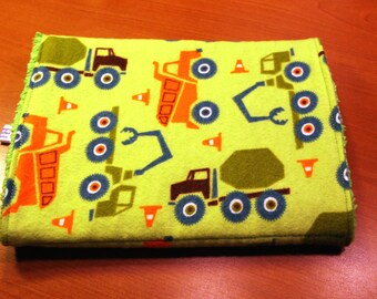 Burp Cloth - Trucks and Construction Vehicles - Flannel and Chenille Burpie - Green