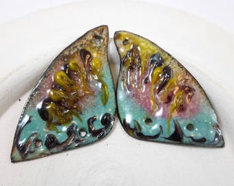 Enameled Butterfly Wings, Enamel Pendant 3 hole Connectors,Spring Fashion handmade jewelry supplies,Colorful Bohemian Earring Components