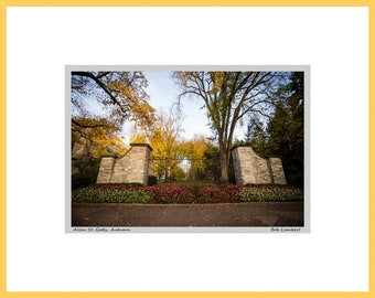 Penn State Photo of the Allen St Gates in State College, PA - Hand Signed and Titled (11x14 matted photograph)