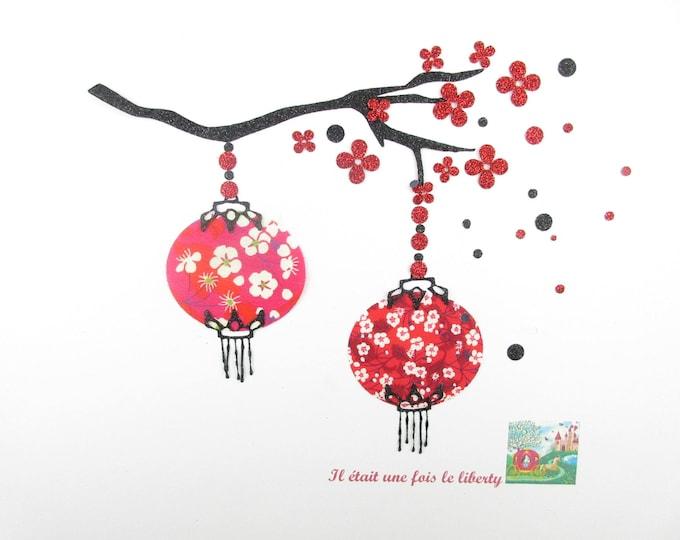 Appliqués thermocollants Lanternes japonaises sur une branche de cerisier en tissu liberty Mitsi rouge, iron on liberty