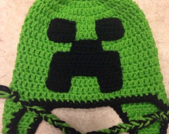 Minecraft inspired creeper hat with ear flaps, minecraft hat, creeper hat, minecraft creeper, video game hat, gamer
