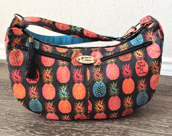 "Hobo Bag, Handbag, Sling Bag, Slouchy Bag, Tropical Bag, Large Purse, Pineapple Bag in ""You Had Me At Aloha"" Print"