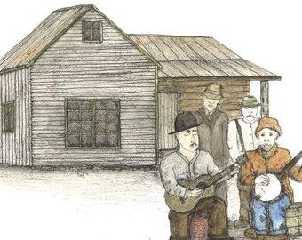 "Original Folk Art: (11' x 14"") Musicians with guitar and Banjo"