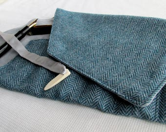 Wool Tweed and Velvet Six-Pen Wrap, Pen Roll, Pen Case
