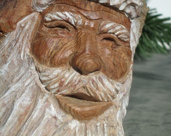 Hand Carved Santa Cottonwood Bark