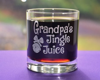 Personalized Engraved Custom Keepsake Holiday Glass, Grandpa's Jingle Juice, Dad's Sippy Cup, Fun Grandparents or Parents Christmas Gift