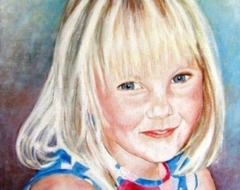 Original Custom Portrait Painting of children from your photo, oil painting on canvas, example Angel child